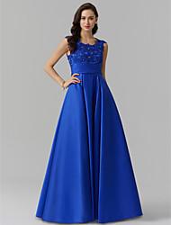 economico -Linea-A Con decorazione gioiello Lungo Raso elasticizzato Serata formale Vestito con Perline / Con applique / Drappeggio di TS Couture®
