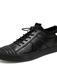 Недорогие -Муж. обувь Кожа Лето Удобная обувь Кеды Черный