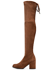 cheap -Women's Shoes Nubuck leather Fall Fashion Boots Boots Chunky Heel Pointed Toe Over The Knee Boots Brown / Green / Blue / Party & Evening