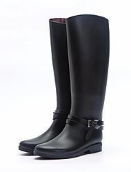 Недорогие -Жен. Обувь Кожа ПВХ  Осень Резиновые сапоги Ботинки На низком каблуке Сапоги выше колена Черный