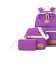 baratos -Mulheres Bolsas Tela de pintura Mochila Escolar Ziper para Uso Profissional / Escola Preto / Roxo / Khaki