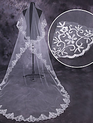 cheap -One-tier Fashionable Jewelry / Flower Style / Mesh Wedding Veil Chapel Veils with Scattered Bead Floral Motif Style 110.24 in (280cm) Tulle / Oval