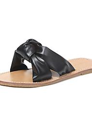 cheap -Women's Shoes Rubber Summer Comfort Slippers & Flip-Flops Flat Heel Bowknot for Outdoor White / Black