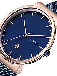 preiswerte -MINI FOCUS Herrn Armbanduhr Kalender / Armbanduhren für den Alltag / Cool Edelstahl Band Luxus / Minimalistisch Schwarz / Blau / Silber