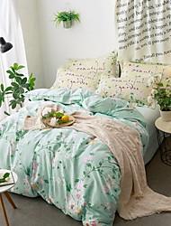 cheap -Duvet Cover Sets Floral 100% Cotton Quilted 4 Piece / 4pcs (1 Duvet Cover, 1 Flat Sheet, 2 Shams)