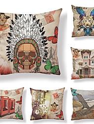 preiswerte -6 Stück Gewebe / Baumwolle / Leinen Kissenbezug, Blumen / Art Deco / Print Künstlerisch / Quadratisch