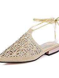 baratos -Mulheres Sapatos Gliter Verão Tira no Tornozelo Sandálias Salto Baixo Dedo Apontado Pedrarias / Laço para Aniversário / Festas & Noite
