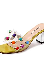 cheap -Women's Shoes PU(Polyurethane) Fall Slingback / Transparent Shoes Slippers & Flip-Flops Walking Shoes Chunky Heel Open Toe Rivet White /