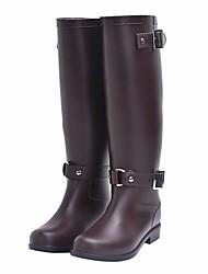 baratos -Mulheres Sapatos Borracha Outono Botas de Chuva Botas Salto Baixo para Preto / Marron