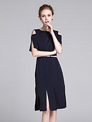 cheap -ZIYI Women's Work Slim Sheath Dress - Striped