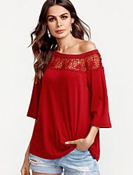 preiswerte -Damen Solide Patchwork Sexy T-shirt, Schulterfrei Lose Spitze Rückenfrei Ausgehöhlt Polyester