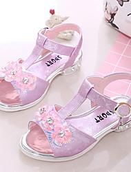 cheap -Girls' Shoes PU Summer Comfort Sandals Walking Shoes Buckle / Flower for Kids Light Purple / Pink / Light Blue