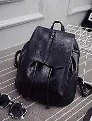 cheap -Women's Bags PU(Polyurethane) Backpack Buttons / Zipper Black