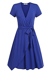 cheap -Women's Going out Swing Dress - Solid Colored High Waist V Neck / Spring