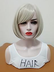 abordables -Perruque Synthétique Droit Coupe Carré Cheveux Synthétiques Homme / Taille moyenne / Avec Bangs Argent Perruque Femme Mid Length Sans bonnet / Oui