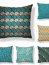cheap -6 pcs Textile / Cotton / Linen Pillow case, Polka Dot / Art Deco / Printing Geometric / Square Shaped