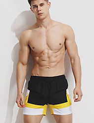 abordables -Homme Sportif Bas - Lacet, Couleur Pleine Caleçon de Bain Noir & rouge / Noir & Blanc