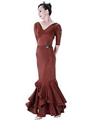 abordables -Danse de Salon Bas Femme Entraînement Tulle / Soie Glacée Volants en cascade Taille moyenne Jupes