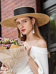cheap -Natural Fiber Hats with Braided Strap / Plain Top 1pc Casual / Daily Wear Headpiece