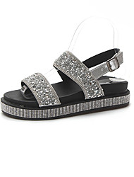 cheap -Women's Shoes Rubber Summer Comfort Sandals Flat Heel Buckle Black / Silver