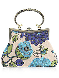 cheap -Women's Bags Cloth / Fabric Evening Bag Embroidery / Flower Red / Purple / Yellow