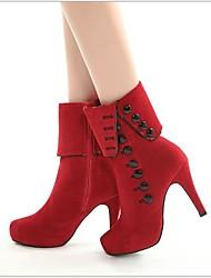 Недорогие -Жен. Обувь Кашемир Осень Удобная обувь Ботинки Платформа для Повседневные Черный Красный