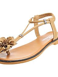 cheap -Women's Shoes PU(Polyurethane) Summer Comfort Sandals Low Heel Round Toe Bowknot Black / Khaki