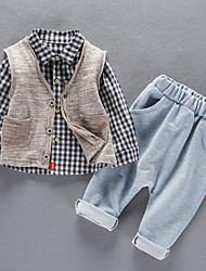 economico -Bambino (1-4 anni) Da ragazzo A quadri Manica lunga Completo