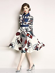 cheap -Women's Vintage Swing Dress - Geometric Print / Patchwork