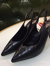 Недорогие -Жен. Обувь Кожа Весна / Лето Удобная обувь / Туфли лодочки Обувь на каблуках На шпильке Черный / Миндальный