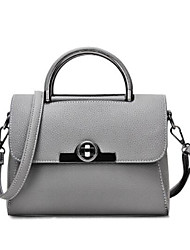 cheap -Women's Bags Genuine Leather Shoulder Bag Buttons Gray