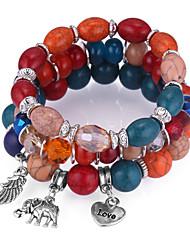 abordables -Empiler Charmes pour Bracelets / Bracelets de rive - Eléphant, Cœur, Plume Européen, Ethnique, Mode Bracelet Orange / Rouge / Bleu Pour Soirée / Quotidien