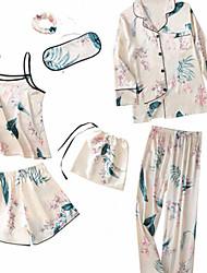 abordables -Mujer Escote Cuadrado Traje Pijamas Geométrico
