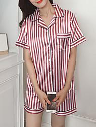 abordables -Mujer Escote Cuadrado Traje Pijamas A Rayas
