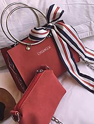 baratos -Mulheres Bolsas PU Conjuntos de saco Laço(s) Vermelho / Cinzento / Khaki