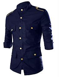 Недорогие -Муж. Рубашка Хлопок Однотонный / Пожалуйста, выбирайте изделие на размер больше вашего обычного размера