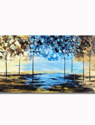 cheap -STYLEDECOR Modern Hand Painted The Blue and Brown Woods Oil Painting on Canvas Wall Art