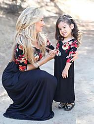abordables -Maman et moi Fleur Manches Courtes Robe
