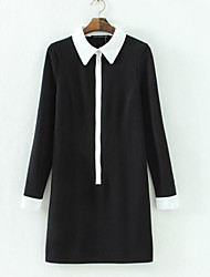 cheap -Women's Basic Shirt Dress - Solid Colored / Color Block Black & White, Patchwork