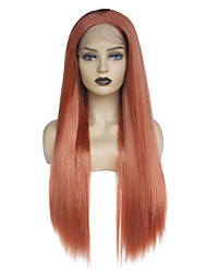 cheap -Synthetic Lace Front Wig Straight Layered Haircut / Middle Part Synthetic Hair Soft / Heat Resistant / Women Red Wig Women's Long Lace Front Wig / Yes