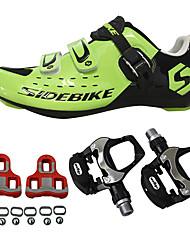 Недорогие -SIDEBIKE Велообувь с педалями и шипами Обувь для шоссейного велосипеда Нейлон и углеродное волокно Резина Велосипедный спорт / Велоспорт Амортизация Дышащая сетка Полиуретан Зеленый / черный
