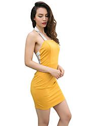 baratos -Mulheres Moda de Rua Tubinho Vestido Sólido Mini