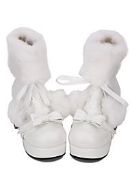 abordables -Chaussures Doux / Lolita Classique / Traditionnelle Princesse Talon Bottier Chaussures Couleur Pleine 7.5 cm CM Blanc Pour PU