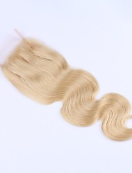 cheap -Guanyuwigs Brazilian Hair / Body Wave 4x4 Closure Wavy Free Part Swiss Lace Virgin Human Hair Women's Soft / Women / Natural Hairline Daily