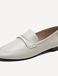 Недорогие -Жен. Обувь Наппа Leather Лето Удобная обувь Мокасины и Свитер На низком каблуке Круглый носок Черный / Бежевый / Зеленый