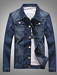 Недорогие -Муж. Большие размеры Джинсовая куртка Однотонный / Длинный рукав