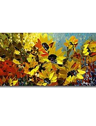 cheap -STYLEDECOR Modern Hand Painted Abstract A Clump of Yellow Flowers Oil Painting on Canvas Wall Art