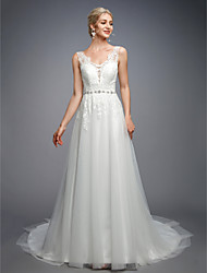 cheap -A-Line V Neck Court Train Lace / Tulle Made-To-Measure Wedding Dresses with Beading / Appliques / Buttons by LAN TING BRIDE® / Open Back / Beautiful Back