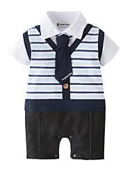 お買い得  -赤ちゃん 男の子 ストライプ 半袖 ワンピース