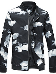 cheap -Men's Plus Size Jacket - Color Block Stand / Long Sleeve